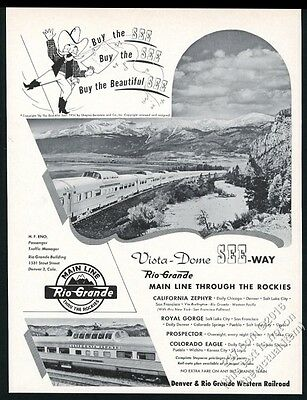 1953 Rio Grande Railroad train and mountains photo vintage print ad