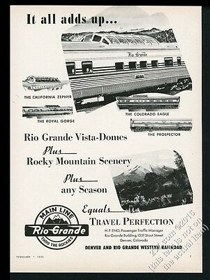 1955 Rio Grande Railroad Royal Gorge Colorado Eagle Prospector Zephyr train ad