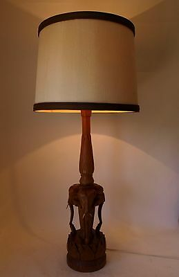 Vintage Retro 60s/70s HUGE CARVED TIMBER TABLE LAMP Elephants KITSCH/TIKI Eames