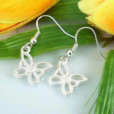 Lady 4 Pair Charm Fashion Jewelry 925 Silver Butterfly Stud Earrings Free Ship