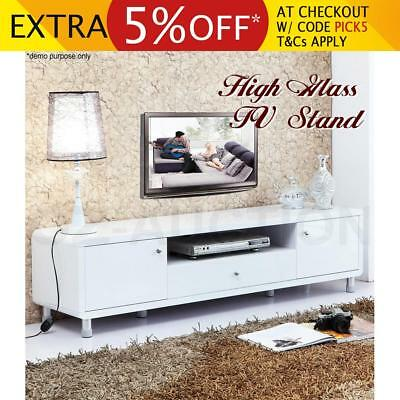 High Gloss Lowline TV Stand Cabinet Buffet Entertainment Unit Drawer LCD-White