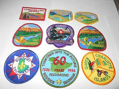 (Rc3-R) Nine British Columbia Listed Scout Badges  Canadian Scout Badges