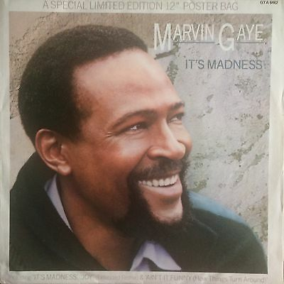 Marvin Gaye: It's Madness. 1985 Cbs. Ltd Poster Bag Sleeve.vinyl 12 Inch Single.