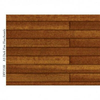 Dark Pine Floorboards Card Size A3 41cm x 29.5cm for a dolls house : 12th scale