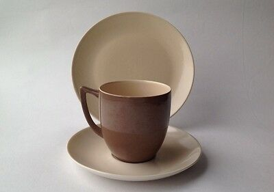 1950s Branksome Super-fine China Teacup Trio Graceline two tone  brown and nude