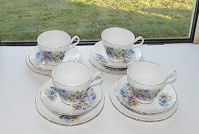Vintage Royal Ascot Bone China Coloured Pansies 4 x Trios Cups Saucers Plates