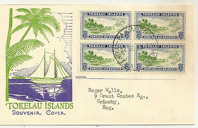 TOKELAU ISLANDS 1948 PICTORIAL FDC SG3 BLOCK x4 TAKAOFO- GB FIRST DAY OF ISSUE