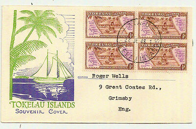 TOKELAU ISLANDS 1948 PICTORIAL FDC SG1 BLOCK x4 ATAFU- GB FIRST DAY OF ISSUE