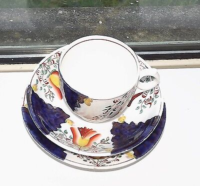Victorian Gaudy Welsh TulipPattern  China Trio Cup Saucer Plate