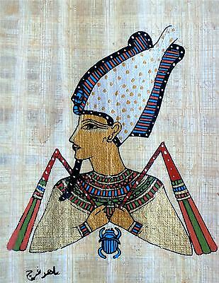 5 by 7 Egyptian Papyrus genuine hand painted Akhnaton scarab signed by artist