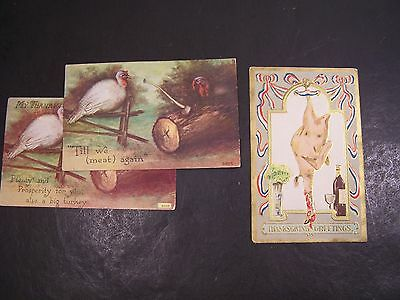 3 Thanksgiving Postcards With Turkeys-1 Embossed,2 Same Front, Different Saying