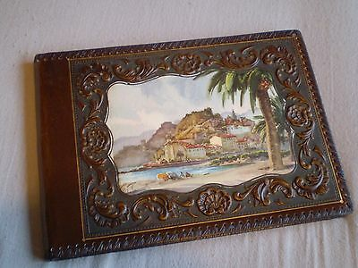 Vintage Leather Photo Album, With Painted Design To Front