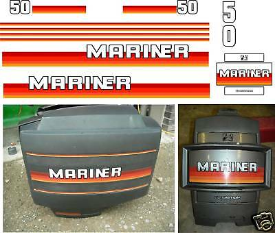 MARINER 50 HP OUTBOARD DECALS, oil injected reproductions