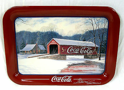 1996 Coca Cola Jim Harrison Winter Covered Bridge Tray - Hand Signed By Artist