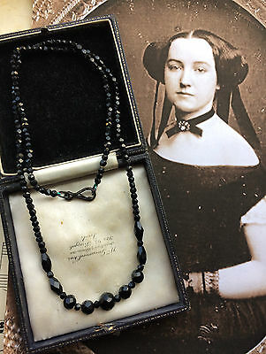 Antique Victorian French Jet Beads Long Mourning Necklace