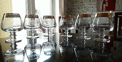 Bohemia Crystal etched brandy glasses with gold rim x 6. 511
