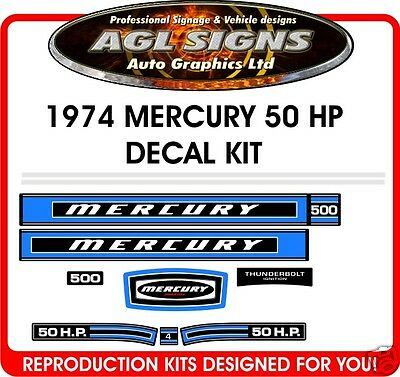 1974 MERCURY 50 hp DECALS, 500,  reproductions stickers