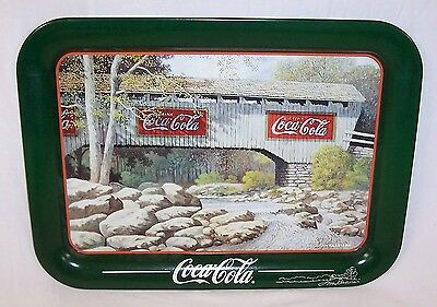 1998 Coca Cola Jim Harrison Springtime Covered Bridge Tray Hand Signed By Artist