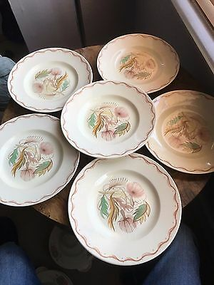 Art deco Susie Cooper pottery Anemone / Coral ? x 6 dinner / meat plates