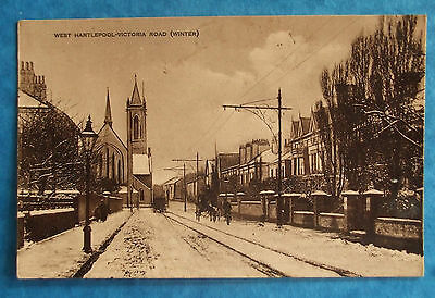 Postcard POSTED 1913 VICTORIA ROAD IN WINTER WEST HARTLEPOOL DURHAM