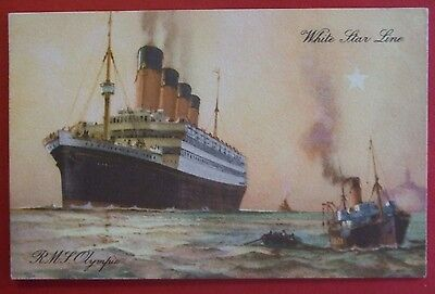 ARTIST SHIPPING Postcard POSTED 1931 WHITE STAR LINE RMS OLYMPIC