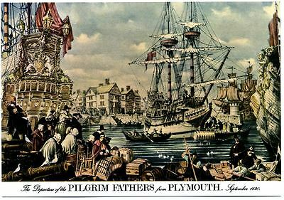 Departure of Pilgrim Fathers postcard