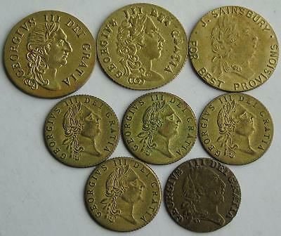 Collection of 8 George III Good Old Days etc Gaming Tokens Guinea & 1/2 in Brass