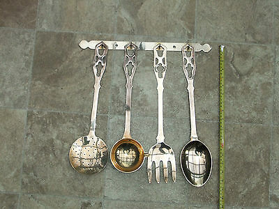 Vintage French Style Set 4 Brass Kitchen Utensils with Hanging  Bar