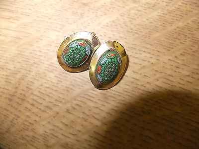 Nieger Style Gilt Metal Forties Ear Rings Set Egyptinesque Glass Centres