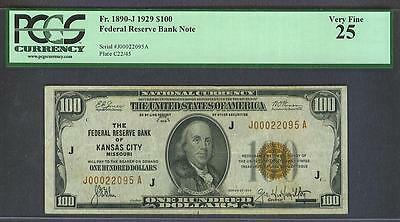 $100 1929 KANSAS CITY *PCGS CERTIFIED* Federal Reserve Bank Note!