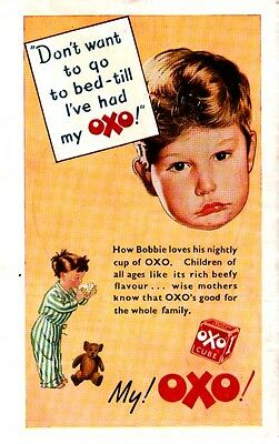 """OXO -- """"Don't Go To Bed - til I've Had My OXO""""   (1948 Advertisement)"""