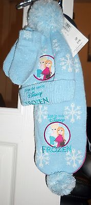 Marks and Spencer GIRLS DISNEY FROZEN HAT/GLOVES & SCARF SET  6-18 months - NEW