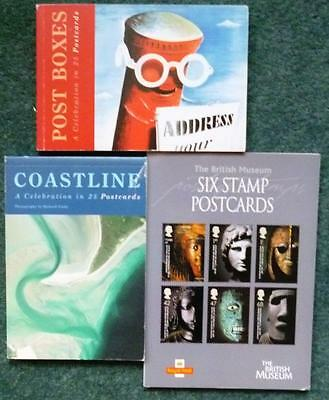 3 different Royal Mail postcard books, all complete.