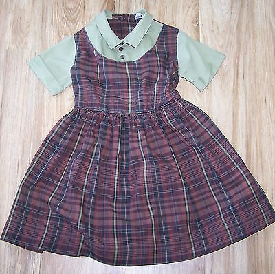 Vintage Size 3 Green And Brown Plaid Mary Jane Dress Very Good Condition