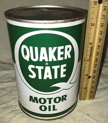 Antique Quaker State Motor Oil Tin Litho 1Qt Can Vintage Gas Service Station Old