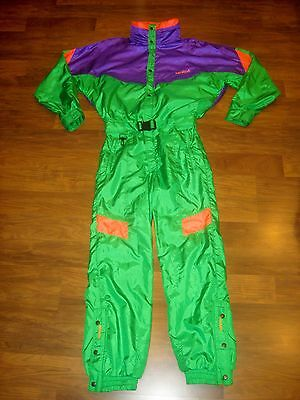 Vtg 80s NEVICA Mens 40 Neon Onesie Snow SKI Suit BIB Jacket Coat Snowsuit MEDIUM
