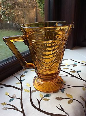 Lovely Art Deco Pressed Amber Glass Water Jug, Sowerby 1930's