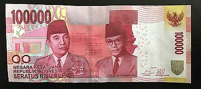 NEW Indonesia Rupiah One Hundred Thousand 100,000  UNCIRCULATED IDR 2014