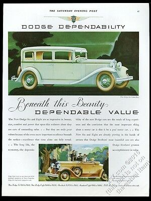 1931 Dodge Six sedan Eight convertible coupe car vintage print ad