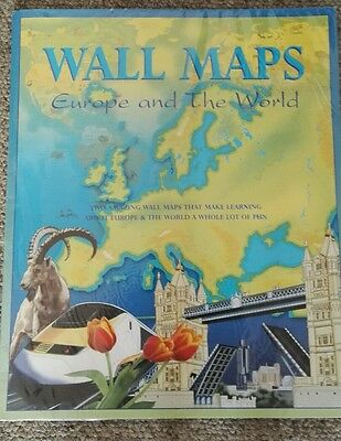new world map and europe map posters