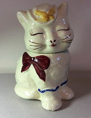 """Vintage 1940s Shawnee """"Puss N Boots"""" Cookie Jar,  Yellow Bird, Red Bow"""