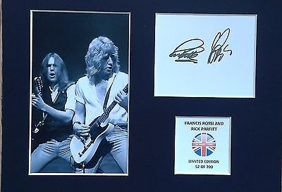 Limited Edition Francis Rossi + Rick Parfitt Signed Mount Display STATUS QUO
