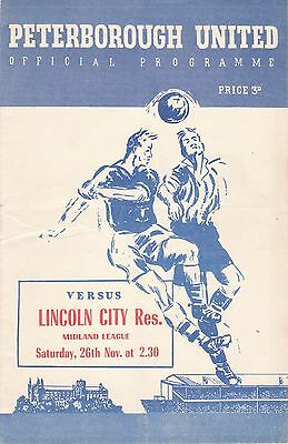 PETERBOROUGH UNITED v LINCOLN CITY RESERVES.26/11/1955.