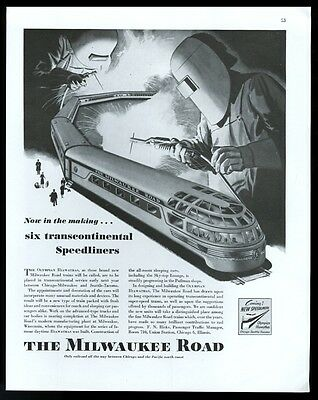 1946 Milwaukee Road Speedliner train welding welder art vintage print ad