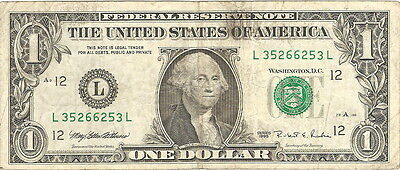 1995 1 One Dollar Federal Reserve RADAR Note (Last Serial Number Lower)