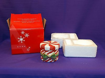 2004 Avon Holiday Poured Candles Peppermint Box Opalescent Green Red W/glitter