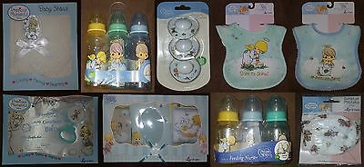 Boys Angel Baby Lot NEW Precious Moments Bottle/Pacifier/Bib/Mitten/Rattle/Shawl