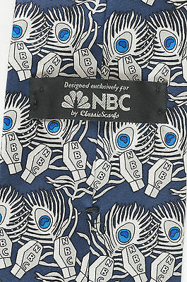 Vintage NBC National Broadcasting Corporation Mens Silk Tie Microphone Rare