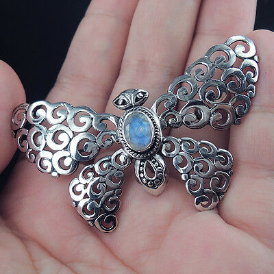 BUTTERFLY Style MOONSTONE & Solid 925 Sterling Silver BROOCH /PENDANT