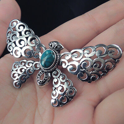 BUTTERFLY Design TURQUOISE & Solid 925 Sterling Silver Pendant Brooch